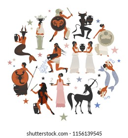 Zodiac signs style mythology of Ancient Greece inscribed in a circle sign.