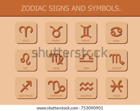 Zodiac Signs Symbols Horoscope Astrology On Stock Vector Royalty