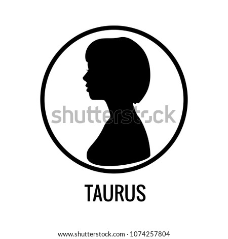 Zodiac Signs Taurus Black Silhouettes Girl Stock Vector (Royalty