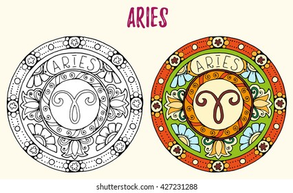 Zodiac signs theme. Black and white and colored mandalas with aries zodiac sign. Zentangle mandala. Hand drawn mandala zodiac for tattoo art, printed media design, stickers, coloring book pages.