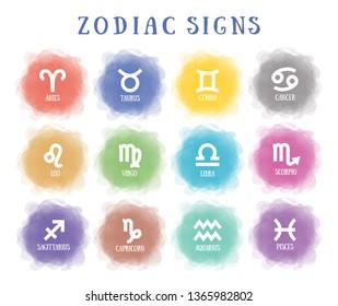 Zodiac signs. Vector horoscope. Smoky circle. Line symbol. Aquarius, libra, leo, taurus, cancer, pisces, virgo, capricorn, sagittarius, aries, gemini, scorpio. Astrological calendar collection