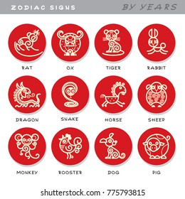 Zodiac signs - vector icons of astrological animals by years, symbols of Chinese astrological calendar. Set of cute illustrations in cartoon style. Pictures isolated on white background.
