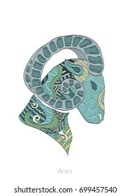 Zodiac signs, vector illustrations, Aries