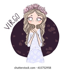 Zodiac signs Virgo. Vector illustration of the girl.