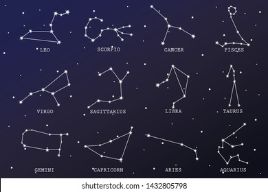 zodiac star sign on the sky illustration, zodiac horoscope star symbol