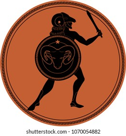 Zodiac in the style of Ancient Greece. Aries. Greek hero with a beard wearing a ram coat, sword in hand and ram head shield. Black figure inscribed in a circle surrounded by a fret.
