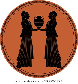 Zodiac in the style of Ancient Greece. Gemini. Two girls wearing clothes and earrings in the style of ancient Greece carrying an amphora. Black figure inscribed in a circle surrounded by a fret.