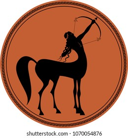 Zodiac in the style of Ancient Greece. Sagittarius. Black figure representing a centaur with long hair and laurel wreath, tensing a bow to shoot an arrow inscribed in a circle surrounded by a fret.