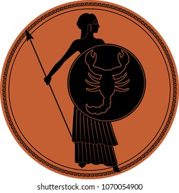 Zodiac in the style of Ancient Greece. Scorpio. Warrior woman wearing a shield with a scorpion and spear. Black figure inscribed in a circle surrounded by a fret.