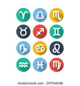 Zodiac Symbol icons. Flat Style. Vector illustration