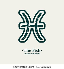 Zodiac symbol textured by connected lines with dots pattern. Sign of the Fish