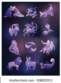 Zodiac symbols and constellations on space background. Beautiful semi-transparent horoscope signs with purple gradient.