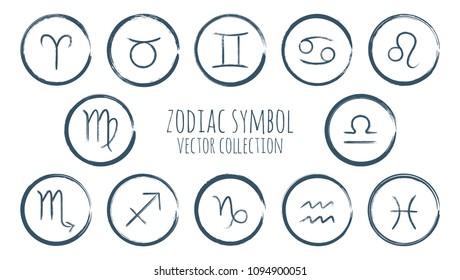 Zodiac symbols vector set, collection of grey hand painted astrology signs on white. Aries, Taurus, Gemini, Cancer, Leo, Virgo, Libra, Scorpio, Sagittarius, Capricorn, Aquarius, Pisces icons isolated.