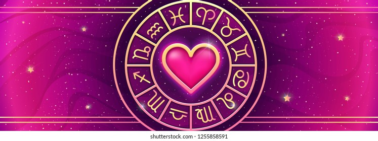 Zodiac symbols wheel on magic colors background. Asrtology prediction horizontal banner. Love horoscope. Vector illustration