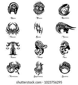Zodiac tattoo vector set