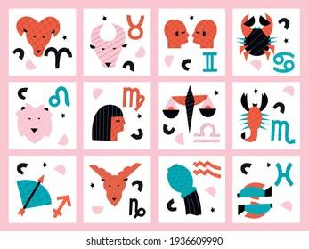 Zodiac vector abstract cartoon illustration set. Constellation man and woman hand drawing illustration.