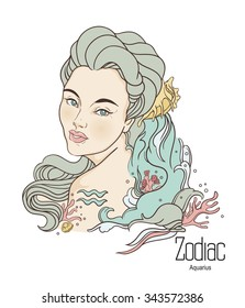 Zodiac. Vector illustration of Aquarius as girl with flowers. Isolated on white background.