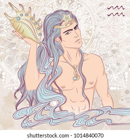 Zodiac. Vector illustration of the astrological sign of Aquarius as a man with a naked torso. The illustration on decorative grunge background in retro colors