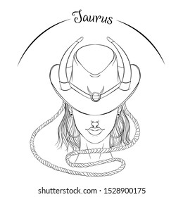 Zodiac. Vector illustration of the astrological sign of Taurus as a beautiful fashion girl in hat. Line art template suitable for coloring book page