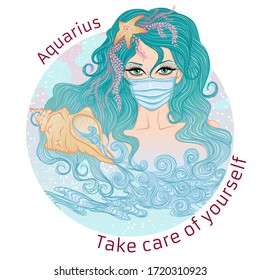 Zodiac. Vector illustration of the astrological sign of Aquarius as a portrait girl in medical mask. Concept of world epidemic. Girl wearing protection medical element to prevent disease,flu.