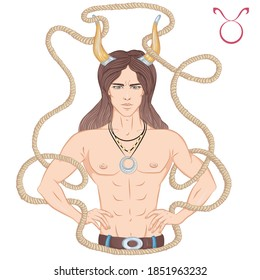 Zodiac. Vector illustration of the astrological sign of Taurus as a beautiful man with a naked torso. Horoscope symbol, star sign isolated on white background. Print, posters