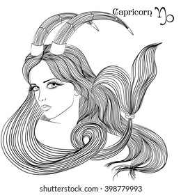 Zodiac. Vector illustration of the astrological sign of Capricorn as a beautiful girl with long hair. Line art for coloring book page