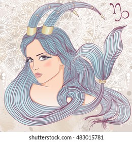 Zodiac. Vector illustration of the astrological sign of Capricorn as a portrait beautiful girl with long hair. The illustration on decorative grunge background in retro colors