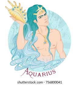 Zodiac. Vector illustration of the astrological sign of Aquarius as a beautiful man with a naked torso. Round shape