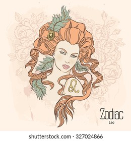 1a3ca2aa4 Zodiac Vector Illustration Leo Girl Flowers Stock Vector (Royalty ...