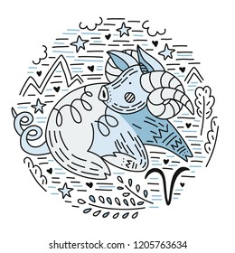 Zodiac vector signes - aries constellation as a pig, symbol of 2019. Hand drawn geometrical icon in decorative style.