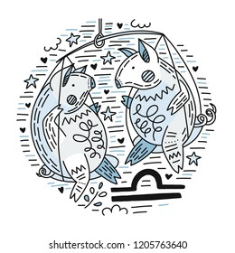 Zodiac vector signes - libra constellation as a pig, symbol of 2019. Hand drawn geometrical icon in decorative style.
