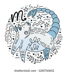 Zodiac vector signes - scorpio constellation as a pig, symbol of 2019. Hand drawn geometrical icon in decorative style.