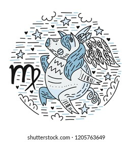 Zodiac vector signes - virgo constellation as a pig, symbol of 2019. Hand drawn geometrical icon in decorative style.