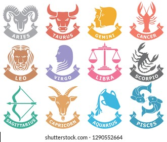 zodiac vector signs (set of horoscope symbols, astrology icons collection)