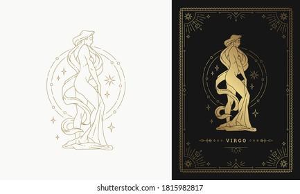 Zodiac virgo girl horoscope sign line art silhouette design vector illustration. Golden symbol with frame for feminine astrology card template or poster.