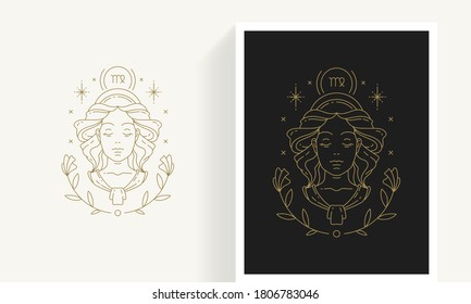 Zodiac virgo horoscope sign line art silhouette design vector illustration. Creative decorative elegant linear astrology zodiac virgo emblem template for logo or poster decoration.