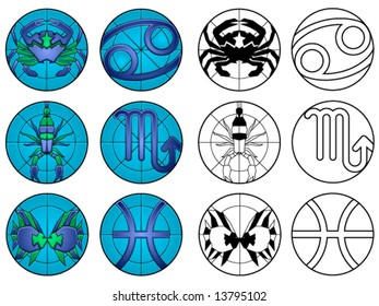 Zodiac water signs (cancer, scorpio and pisces) in suncatcher style and black & white - others available