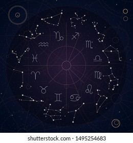 Zodiac wheel on the dark background with constellations. Vector illustration.