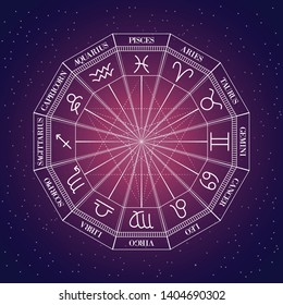 Zodiac Wheel on a space background. Eps10 vector illustration.
