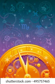 Zodiac wheel vector illustration, night sky background, astrology horoscope signs. Aries, Leo, Sagittarius, Taurus, Virgo, Capricorn, Gemini, Libra, Aquarius, Cancer, Scorpio, Pisces horoscopes icons.