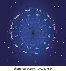 Zodiac Wheel, vector zodiac wheel with zodiac signs and metatrons cube on a space background