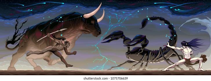 Zodiacal battle between Taurus and Scorpio. Vector conceptual fantasy illustration