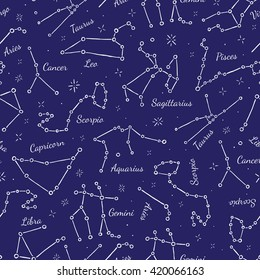 Zodiacal constellations seamless pattern background. Vector illustration