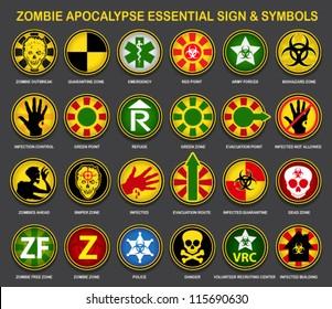 Zombie Apocalypse Essential Sign & Symbols