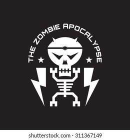 The zombie apocalypse - vector concept badge for t-shirt, poster etc. Skeleton, skull minimal illustration. Design element.
