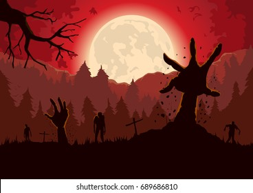 Zombie arm out from ground of grave in a full moon night and red sky.