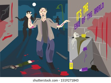 Zombie attack in a dark alley with severed hands and bloodied walls. Editable Clip Art.