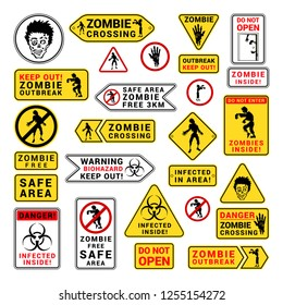 Zombie attention beware and caution sign set. Corpse danger emblem. Vector flat style cartoon illustration isolated on white background
