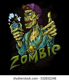 Zombie beer party black background vector illustration. T-shirt design. Sticker vector illustration. Poster illustration design.