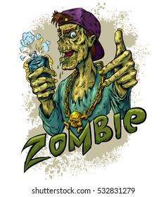 Zombie beer party white background vector illustration. T-shirt design. Sticker vector illustration. Poster design.